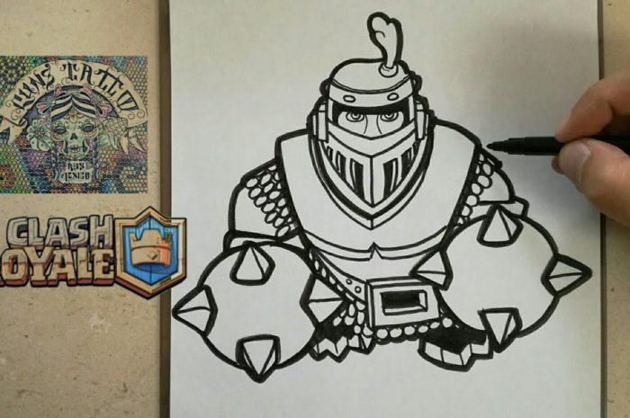 COMO DIBUJAR AL MEGA CABALLERO – CLASH ROYALE / how to draw mega knight – clash royale